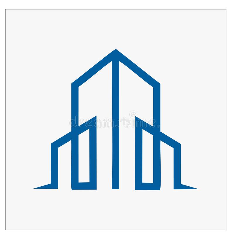 修造的,真正的estatehome和建筑商标和传染媒介设计 库存例证