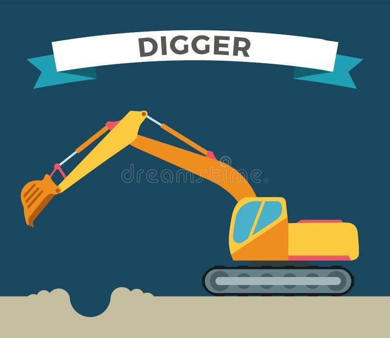 修造的建设中挖掘机技术 皇族释放例证