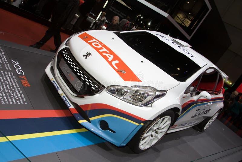 标致汽车208 T16集会车的日内瓦汽车展示会2013年 免版税库存照片