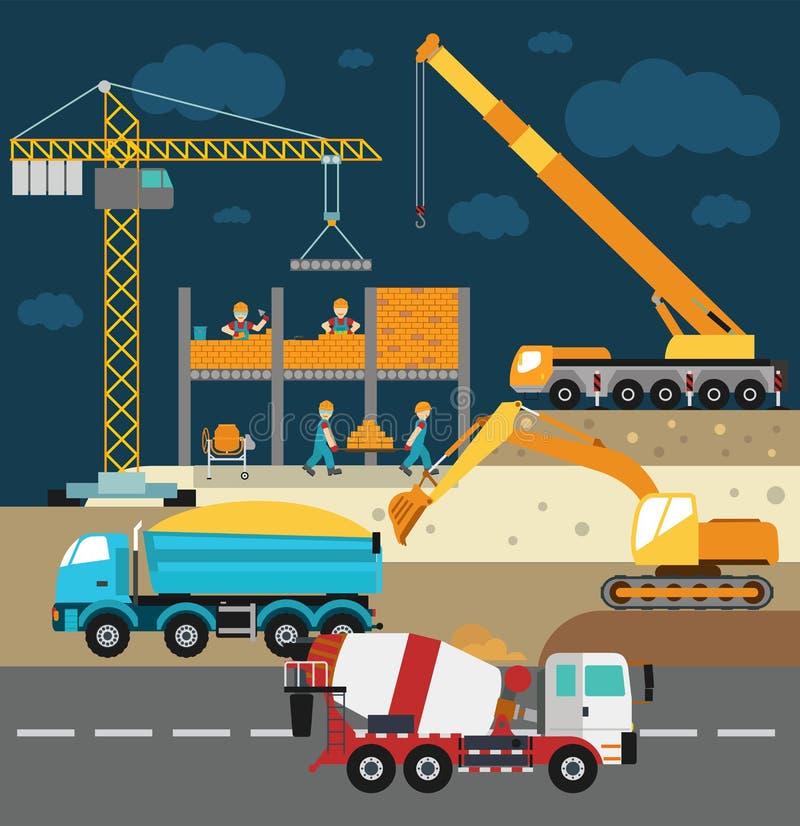 修造建设中,工作者和 皇族释放例证