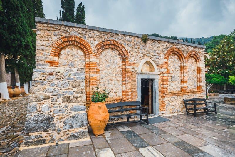 修道院在克利特海岛,希腊上的Kera Kardiotissa 库存照片