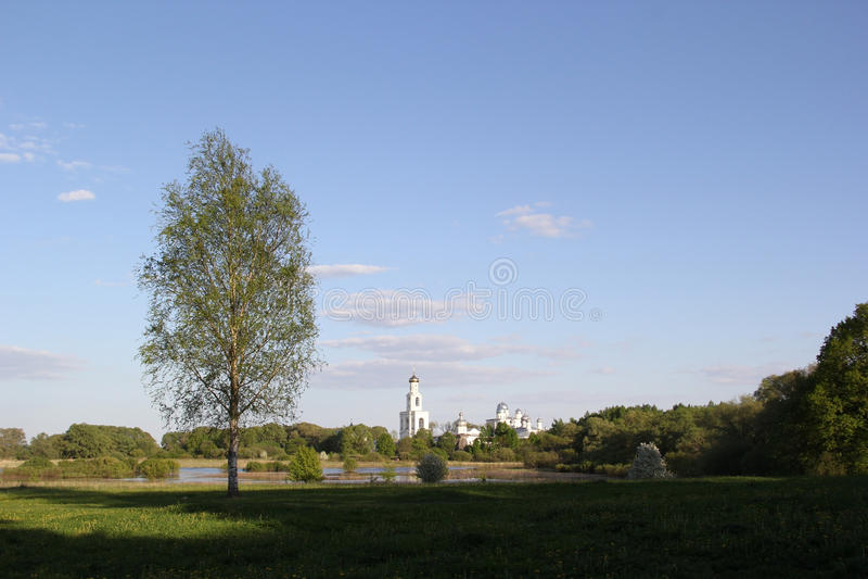修道院在大诺夫哥罗德 免版税库存照片