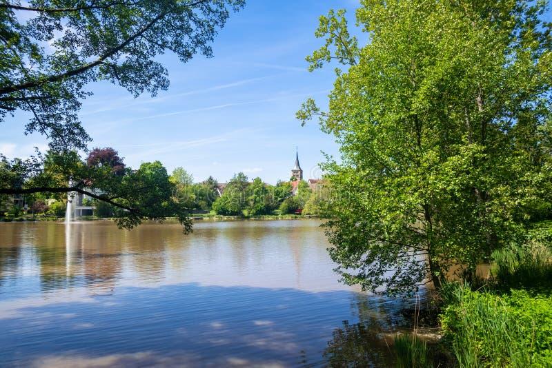 修道院湖在辛德尔芬根德国 库存照片