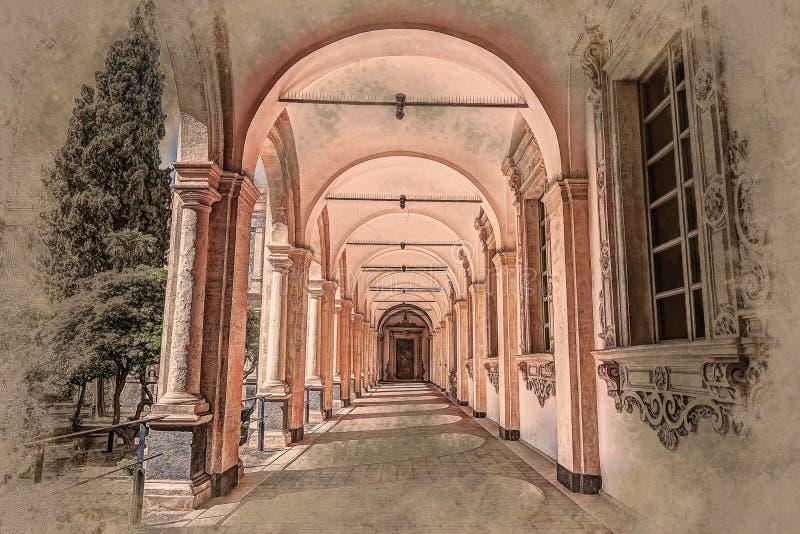 修道院的图象成拱形在修道院里面 库存例证