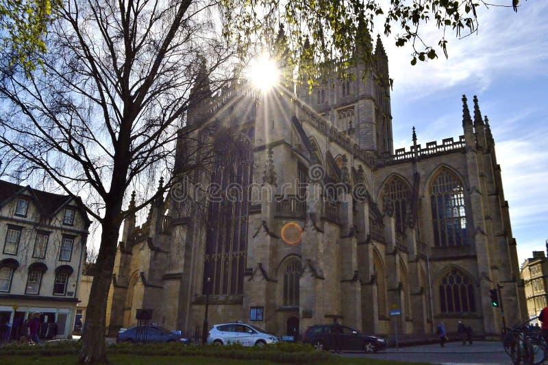 修道院被修建的浴大厦上色了英国有历史的蜂蜜石头使用 免版税图库摄影