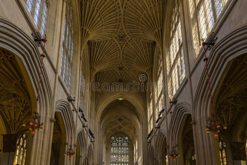 修道院被修建的浴大厦上色了英国有历史的蜂蜜石头使用 图库摄影