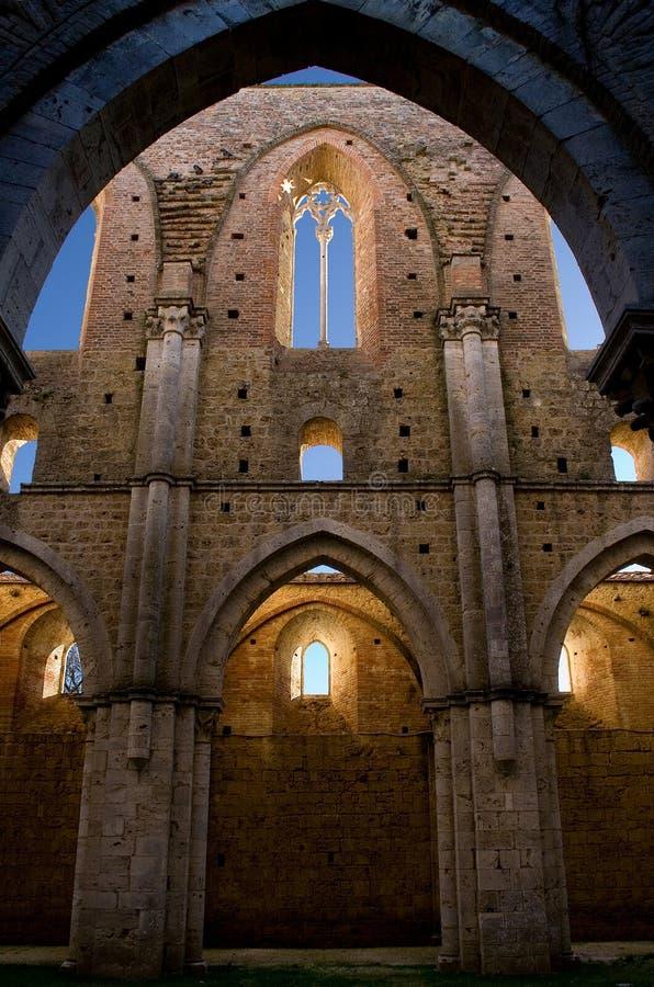 修道院galgano内在s圣视图 免版税库存照片