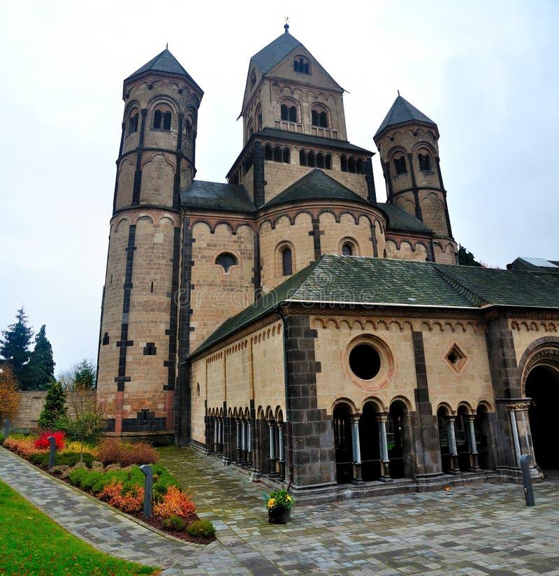 修道院laach玛丽亚罗马式westwork 库存照片