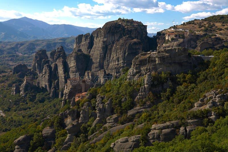 修道院metheori在希腊 免版税图库摄影