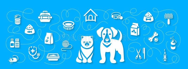修饰动物的宠物和医疗保健平的水平的倒栽跳水横幅 向量例证