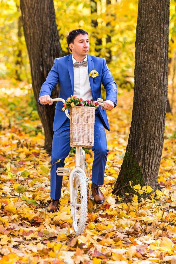 修饰在秋天公园的画象一婚礼之日 库存照片