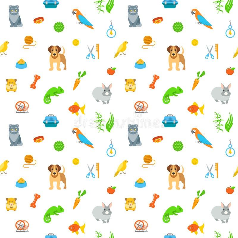 修饰平的五颜六色的无缝的样式的动物宠物 库存例证
