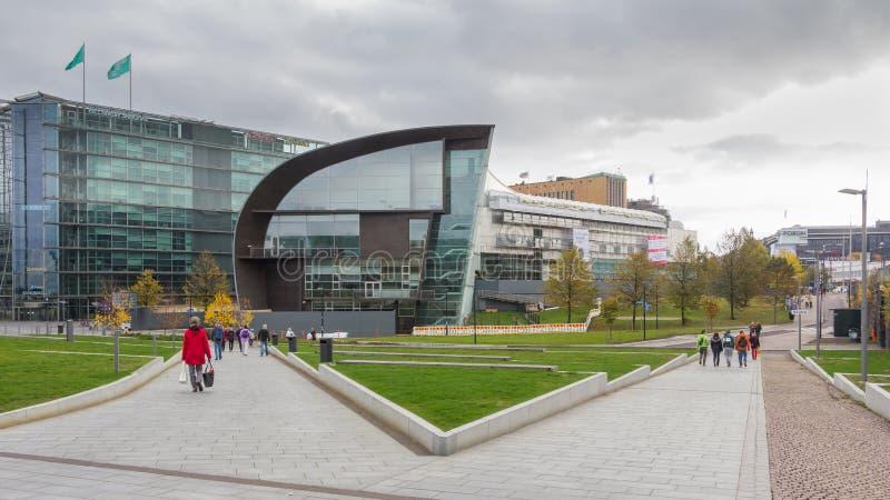 修建赫尔辛基芬兰的Kiasma博物馆和Sanoma 图库摄影