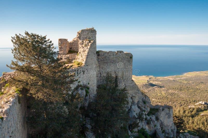 俯视凯里尼亚山脉的Kantara城堡海,是 免版税库存图片