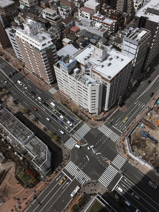 从俯视图的发怒交通 免版税库存照片