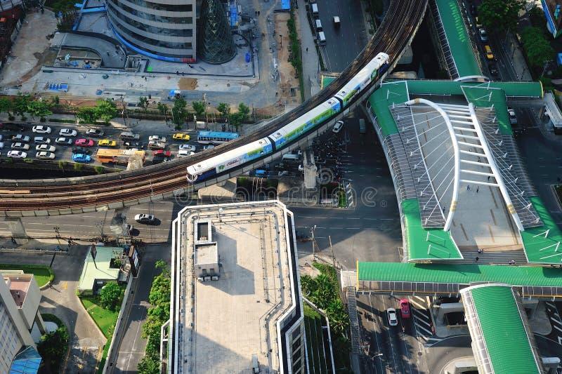 从俯视图的曼谷地平线 图库摄影