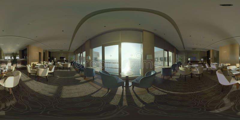 俯视在旅馆顶楼上的360个VR餐馆海 库存图片