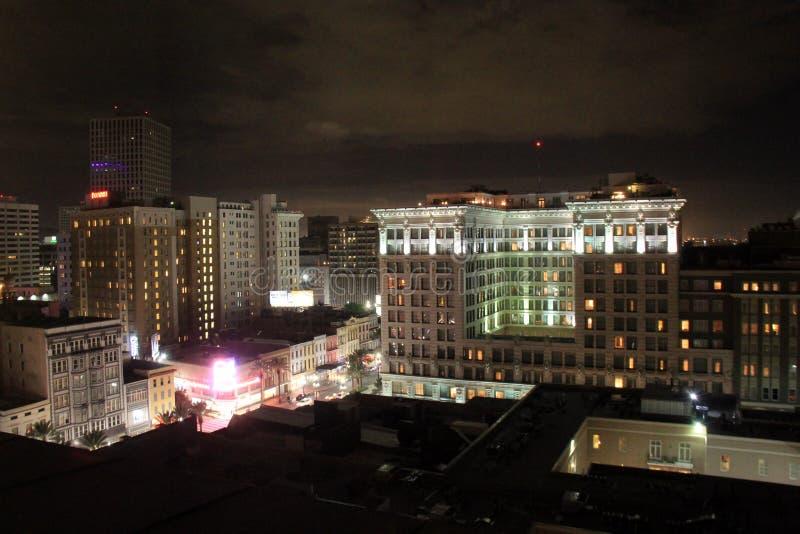 俯视城市的华美的夜,新奥尔良, 2016年 免版税库存照片