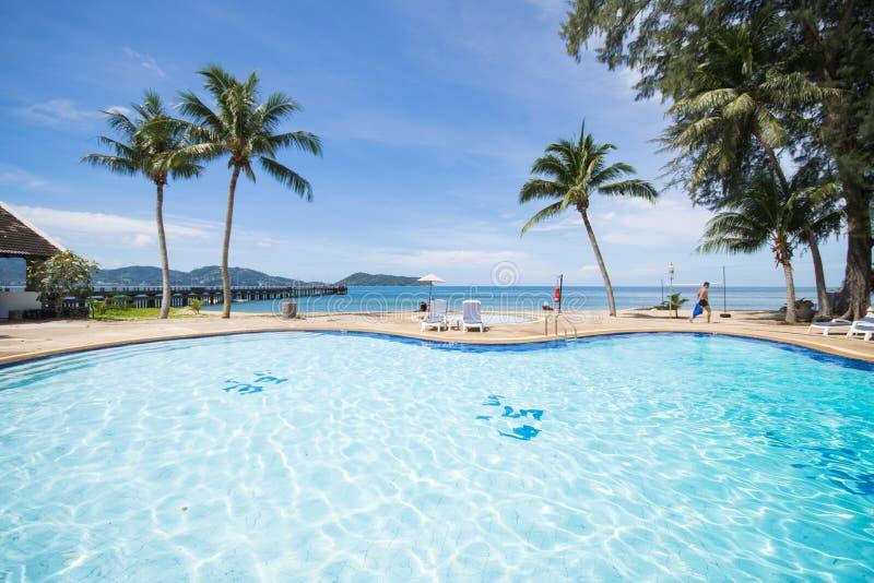 俯视海的美丽的游泳池 免版税库存图片