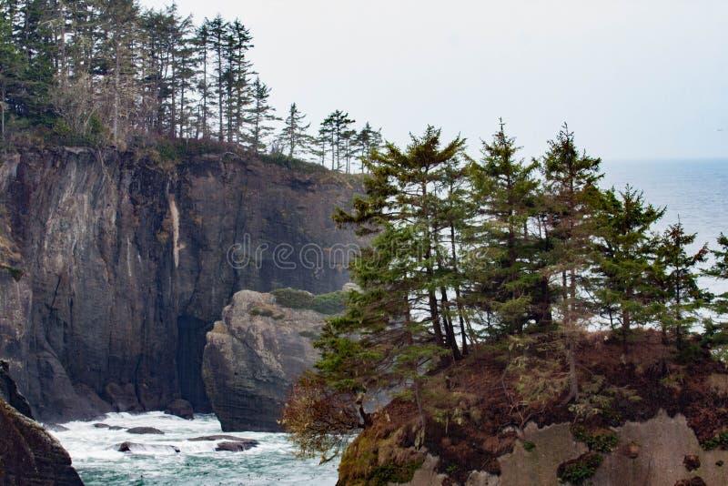 俯视海洋的峭壁 免版税库存图片