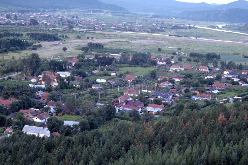 俯视的城镇 免版税库存照片