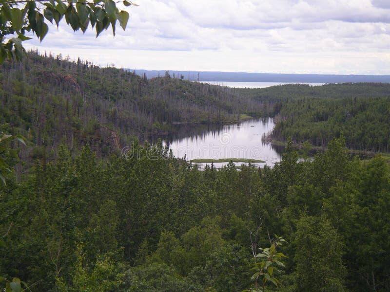 俯视的Kenai湖在阿拉斯加 库存图片