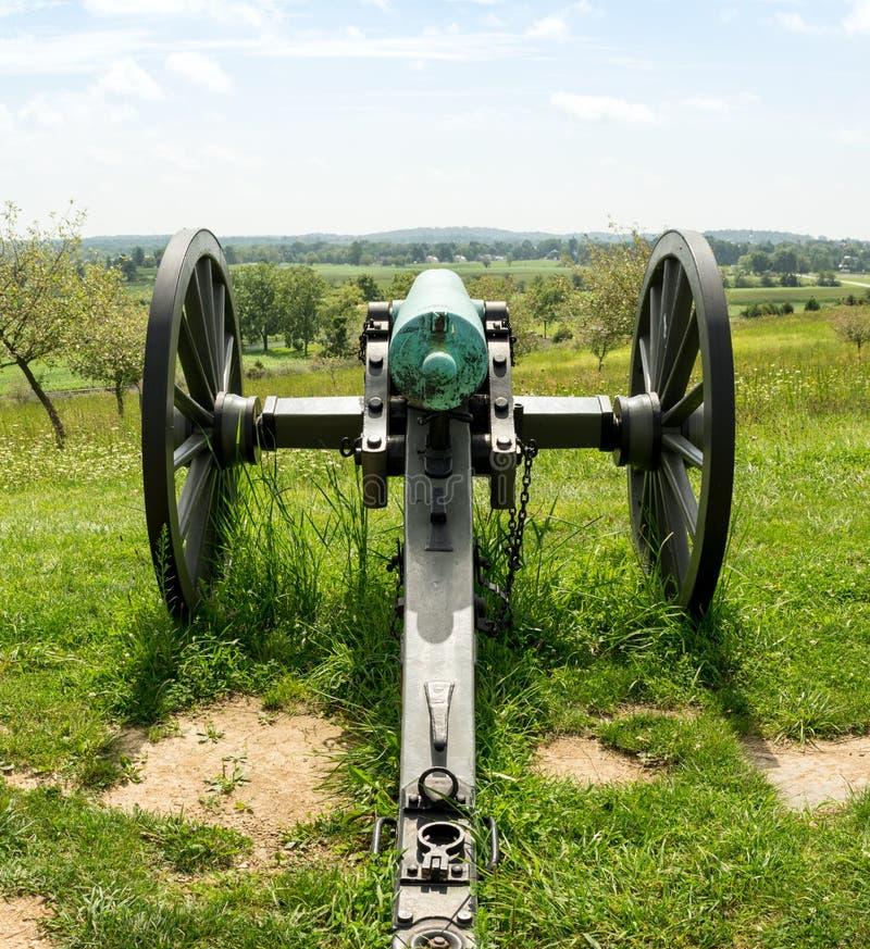 俯视谷的大炮后面看法 图库摄影