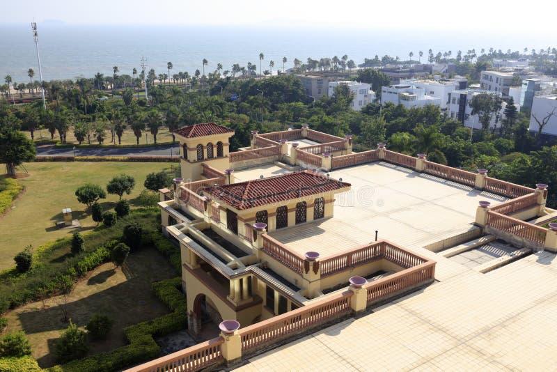 俯视diyuan维多利亚旅馆在海边,多孔黏土rgb 库存图片