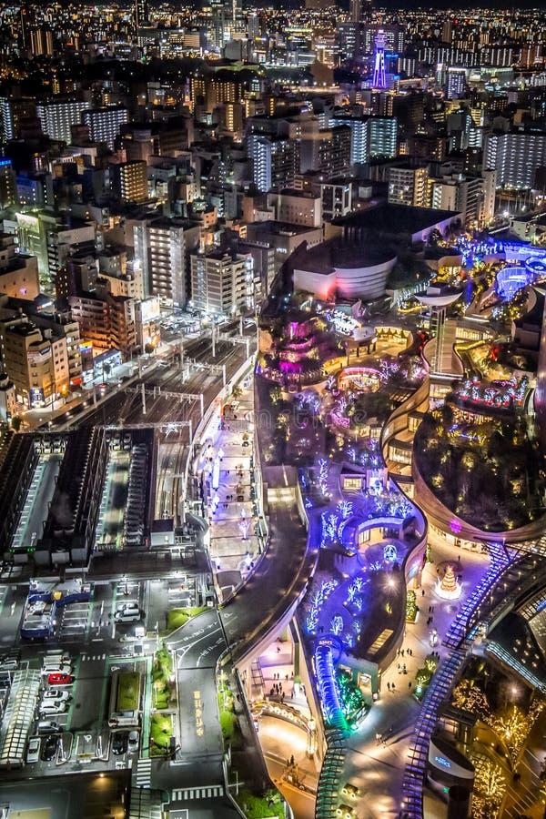 俯视Namba区的城市地平线在大阪,日本 库存照片