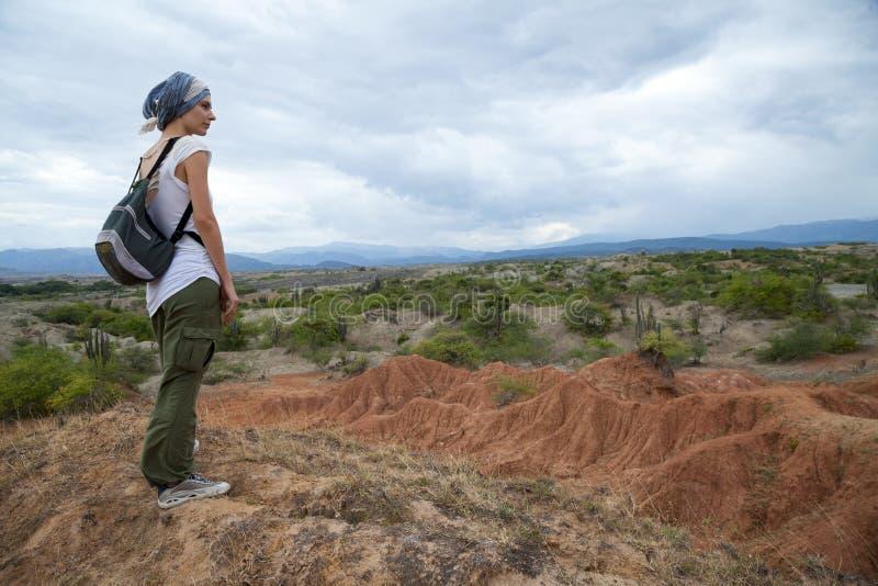 俯视Tatacoa沙漠的女性旅客 免版税图库摄影