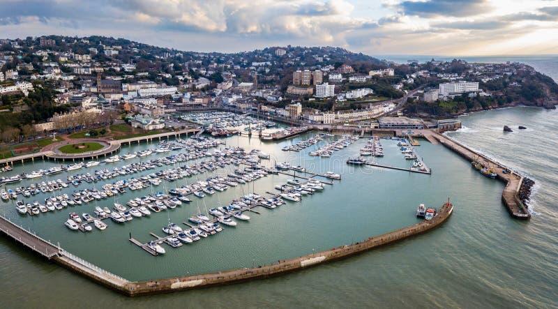 俯视Torquay和港口前景的看法 库存照片