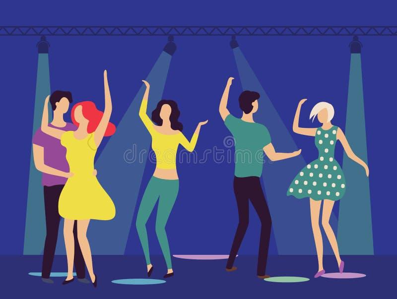 俱乐部、男人和妇女拥抱的跳舞的人 向量例证