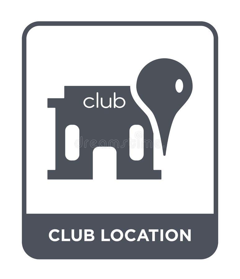 俱乐部在时髦设计样式的地点象 俱乐部在白色背景隔绝的地点象 俱乐部地点简单传染媒介的象和 向量例证