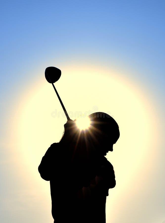 俱乐部女孩高尔夫球剪影摇摆青少年 免版税库存照片