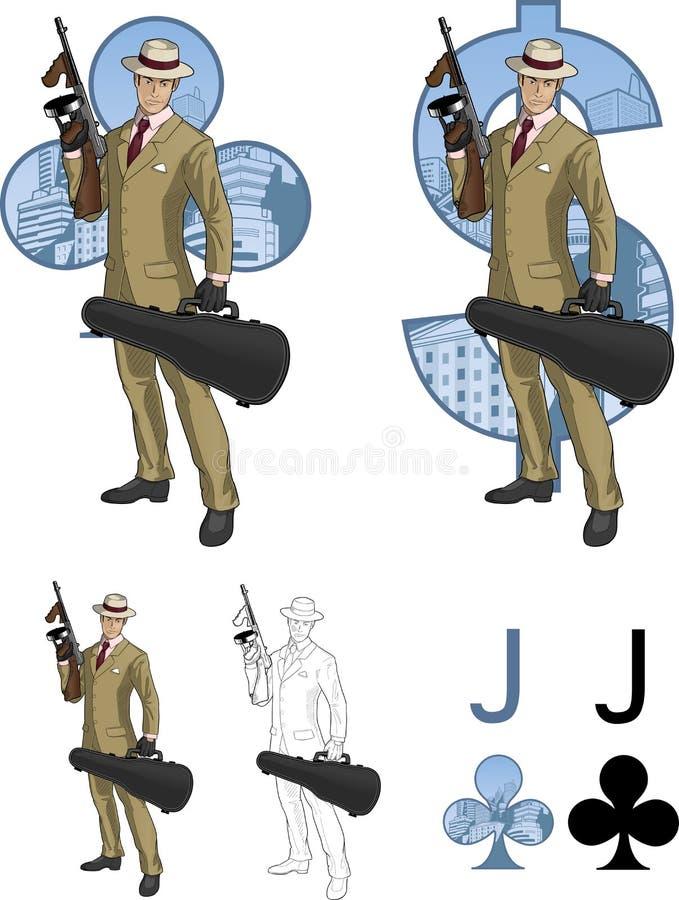 俱乐部西班牙黑手党成员的杰克有汤米枪的 皇族释放例证