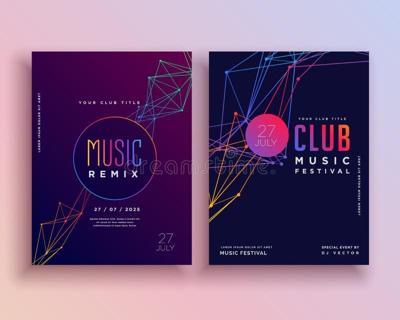 俱乐部音乐党飞行物模板设计 库存例证