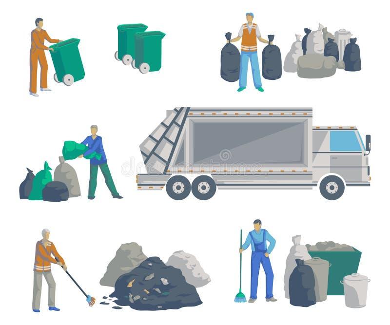 倒垃圾工人被设置 垃圾车、袋子、罐头、容器、容器和堆垃圾 在空白背景的查出的对象 垃圾recy 向量例证