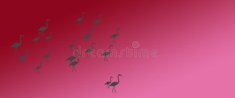 倒栽跳水背景鸟更加伟大的火鸟群在边 库存例证