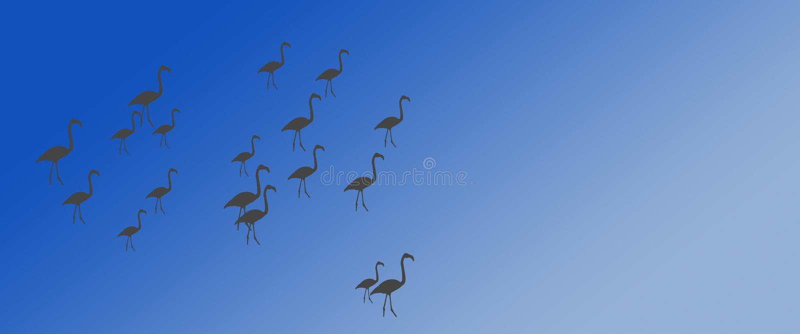 倒栽跳水背景鸟更加伟大的火鸟群在边 向量例证