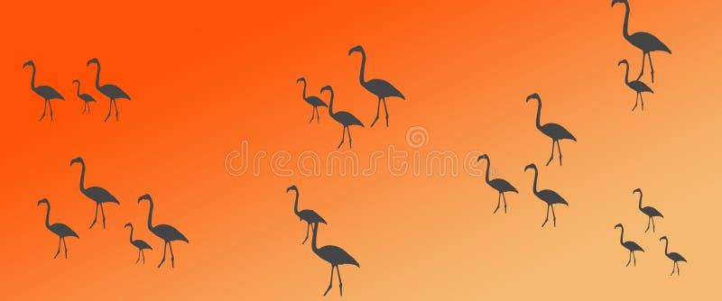 倒栽跳水背景鸟火鸟小组群剪影 向量例证
