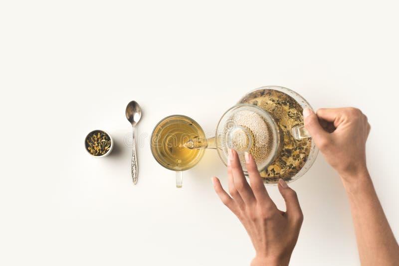 倒清凉茶的人 图库摄影