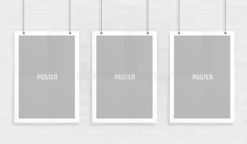 倒空三个白色A4估量了垂悬与纸夹的纸大模型 显示您的飞行物、小册子,标题与这上流的等 向量例证