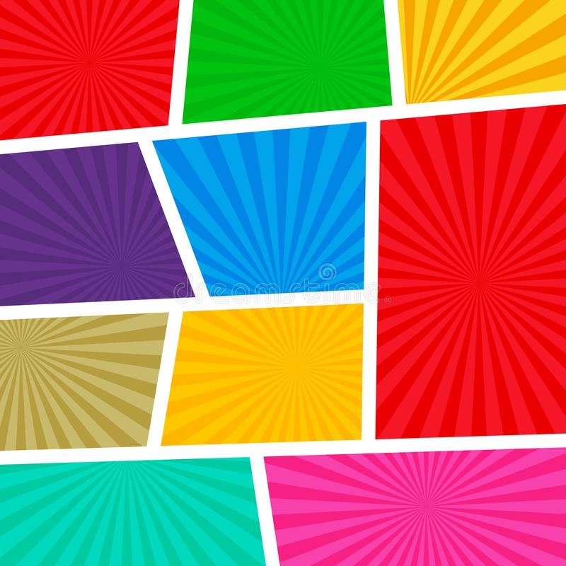 倒空与光芒的漫画书页模板五颜六色的背景 库存例证