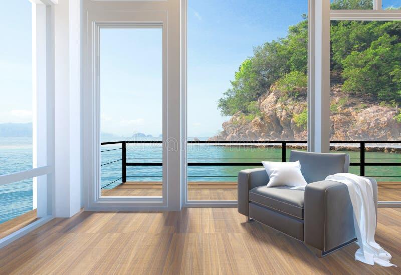 倒空与大窗口和海视图背景的现代客厅内部 库存例证