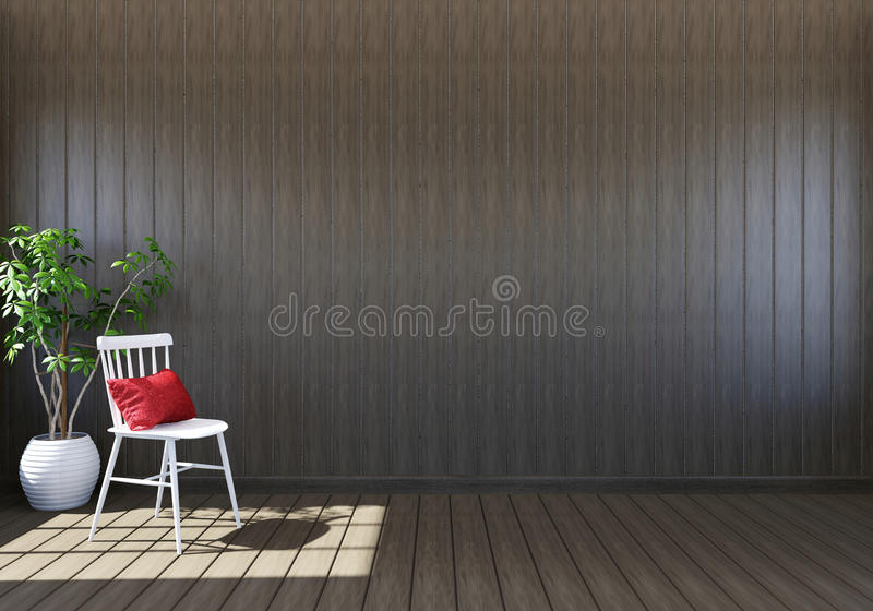 倒空与生存空间,白色椅子和装饰植物的木客厅内部 皇族释放例证