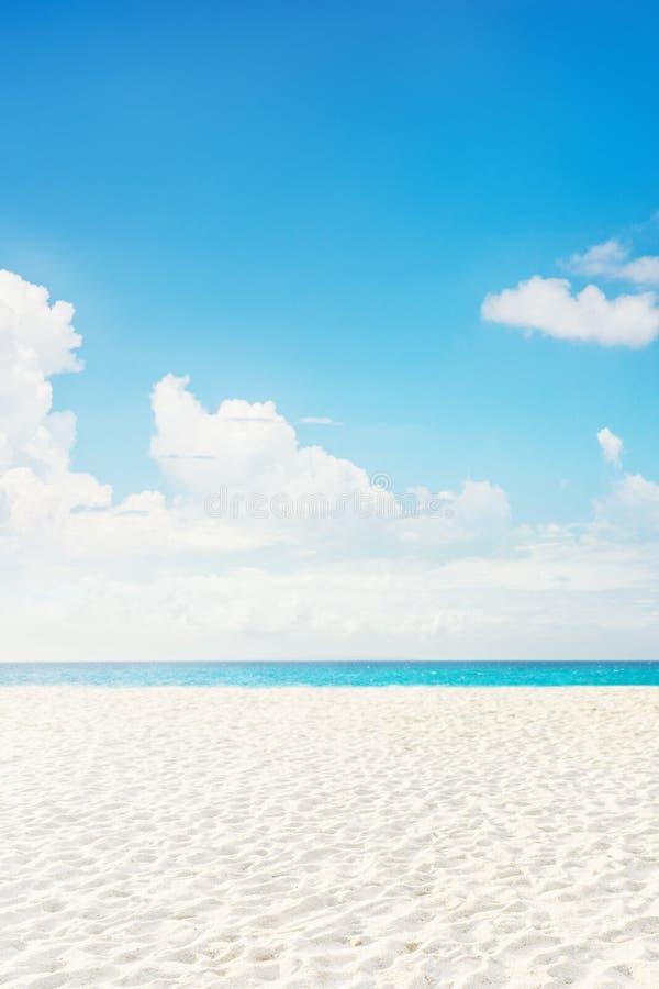 倒空与白色沙子的热带海岛海海滩 免版税库存图片
