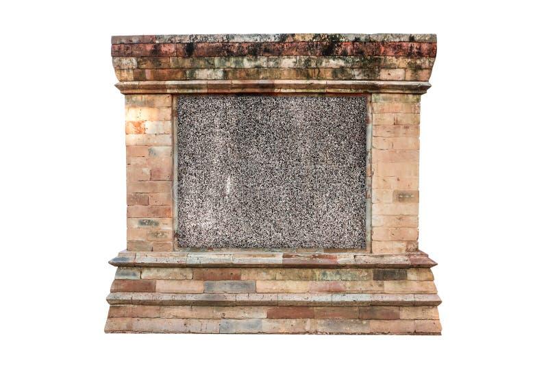 倒空与老古色古香的石葡萄酒框架在白色背景,空的牌的小石头纹理 库存照片