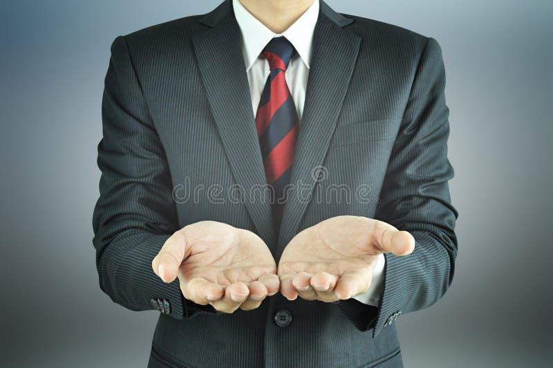倒空商人的被张开的手 免版税库存图片