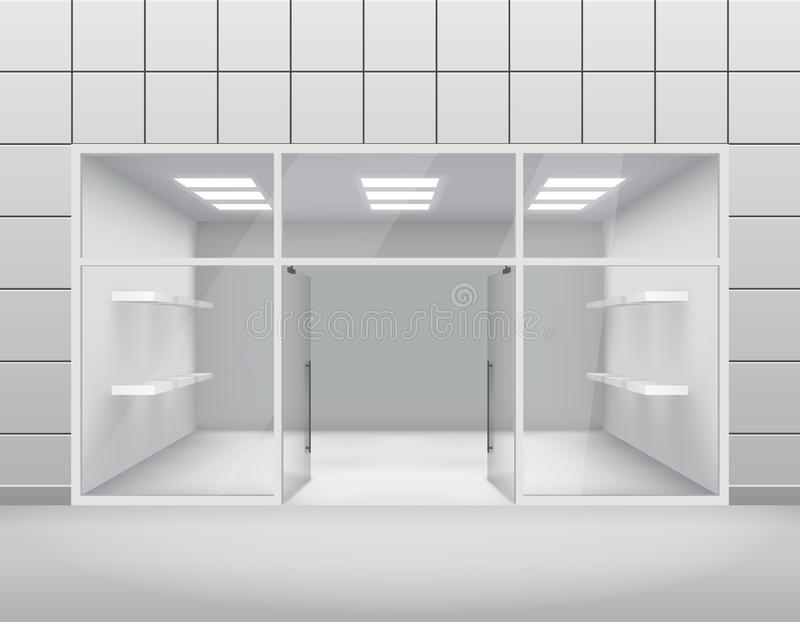 倒空商店前面精品店窗口和门户开放主义的3d模板传染媒介例证 向量例证
