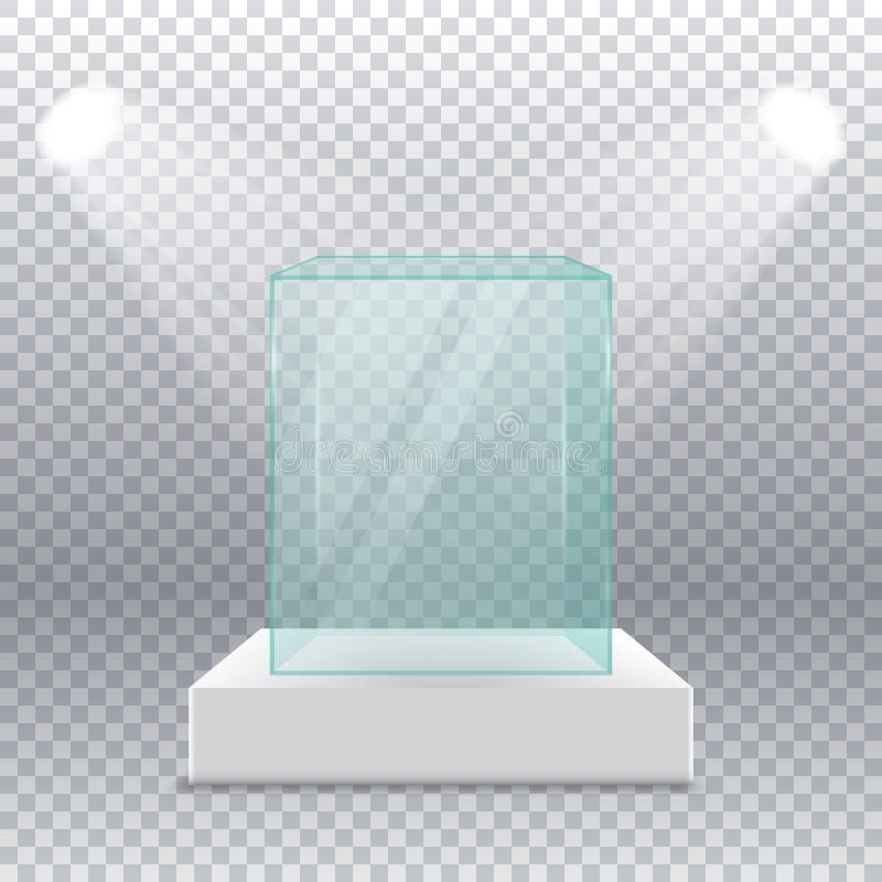 倒空在垫座的透明玻璃箱子与在边的聚光灯在透明背景 向量例证